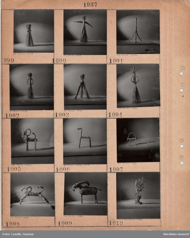 Motiv: Olika figurer av halm, stiliserade människor, olika bockar.