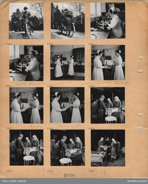 Motiv: En man med hatt, stövlar, ryggsäck kör moped på en grusväg, interiör från sjukhus, Röda Korset, en sjuksköterska i uniform tittar i mikroskop, två sjuksköterskor i laboratorium, operationssal, personal i skyddskläder och munskydd, instrument.