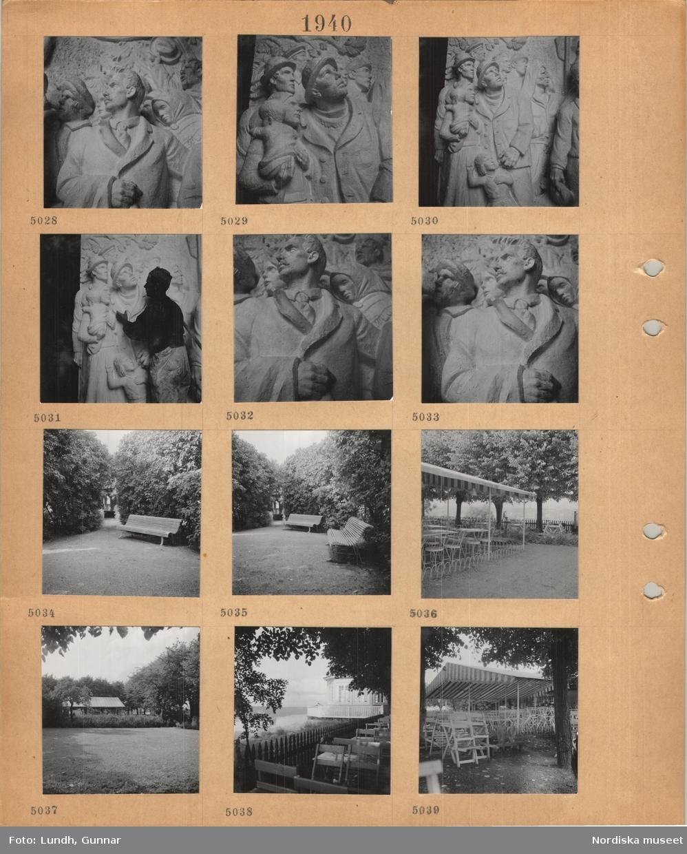 Motiv: Gipsskiss till Hjalmar Branting-monumentet av Carl Eldh på Norra Bantorget, olika detaljer, park med soffor, uteservering, lusthus, Fåfängan(?).