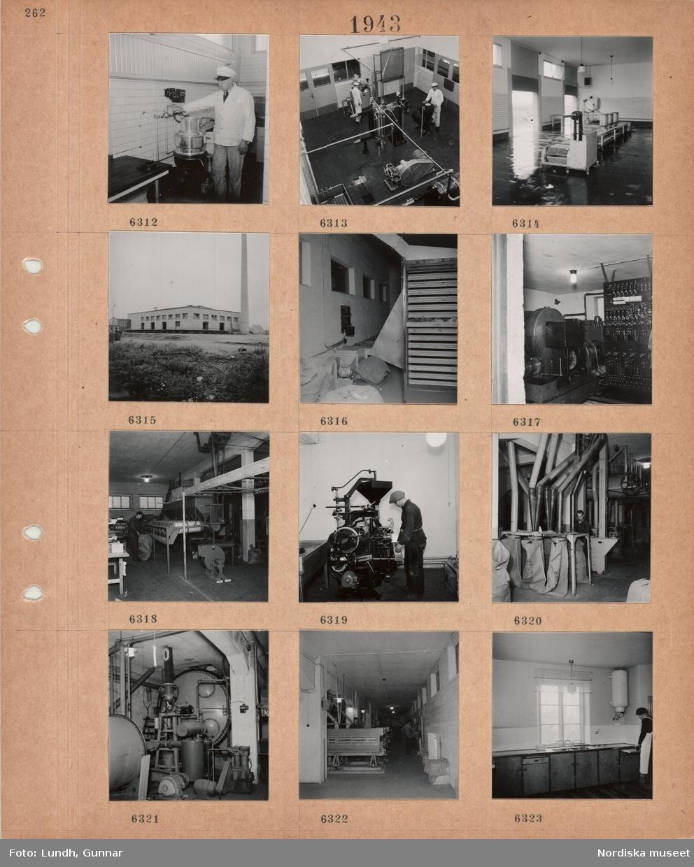 Motiv: Kaklat rum, en man i vit arbetsjacka och skärmmössa står vid en kran, män i vita arbetskläder i ett maskinrum, stora mjölkkärl på tork, exteriör låg fabriksbyggnad med hög skorsten, maskinrum med elcentral, interiör fabrikslokal, män arbetar vid maskiner, tygsäckar fylls, kvinna vid arbetsbänk med diskhoar, varmvattenberedare.