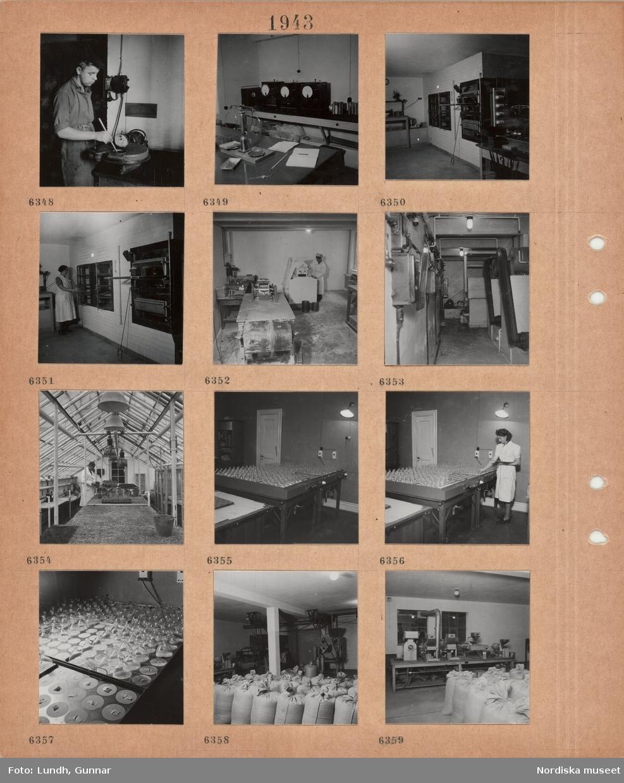 Motiv: Ung man i skyddsförkläde vid arbetsmaskin, arbetslokal med våg, mätinstrument, bakugnar, kvinna i arbetsförkläde, en man i skyddsrock arbetar vid en maskin, detalj maskiner, interiör växthus, en man hanterar krukväxter, belysning, en kvinna kontrollerar lådor med glaskärl, grobarhet av frön(?), fyllda tygsäckar.