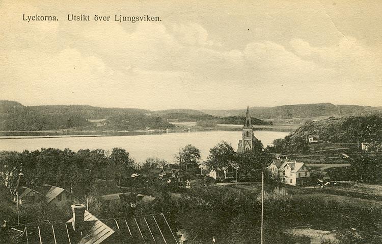 """Enligt Bengt Lundins noteringar: """"Lyckorna. Utsikt över Ljungsviken från Vilhelmsberg""""."""