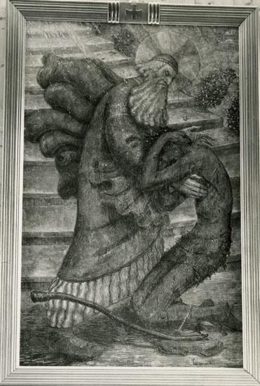 """Enligt Bengt Lundins noteringar: """"Åh Kyrka. Altartavla""""."""