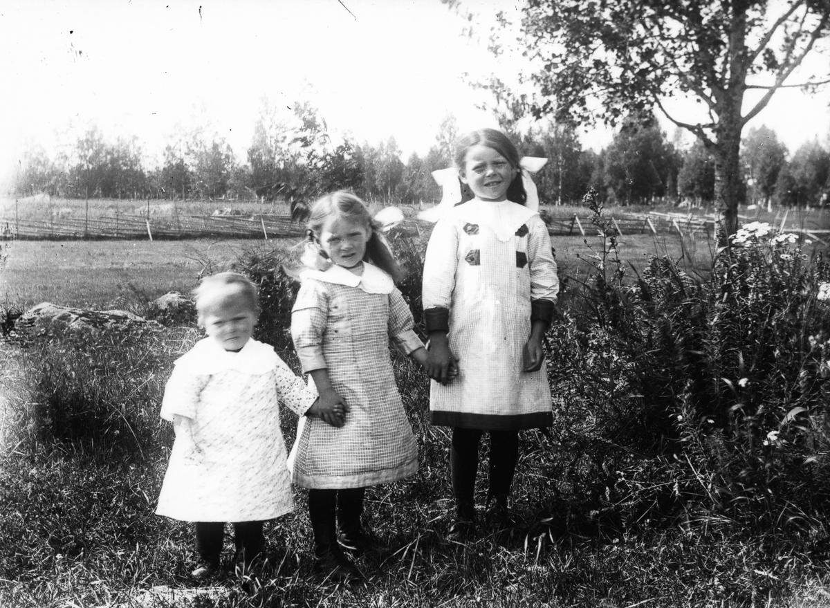 Tre små flickor hand i hand.