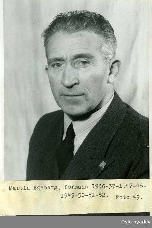 Portrett av Martin Egeberg (1896-1977) som var formann i Sportsklubben 1909 i perioden 1936-1952