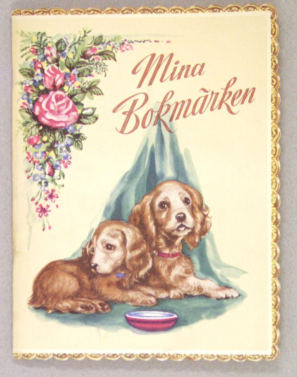 Ett bokmärksalbum med inklistrade bokmärken. På framsidan två hundar vid en matskål och i övre vänstra hörnet en rosenbukett. Har tillhört givaren Maria Hellquist, Sandviken.