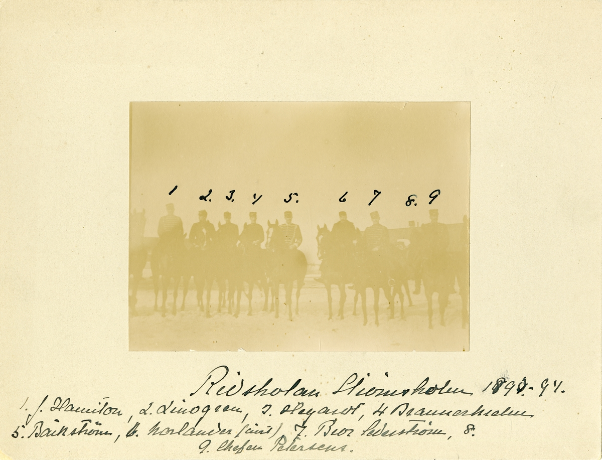 Grupporträtt av officerare på Strömsholms ridskola 1890-1894. För namn, se bild nr. 2.