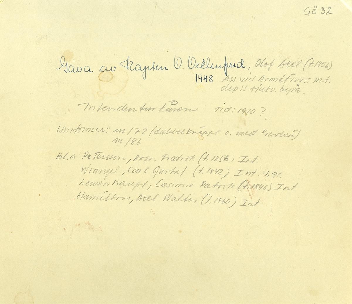 Grupporträtt av intendenter från Intendenturkåren. För namn, se bild nr. 2 och 3.