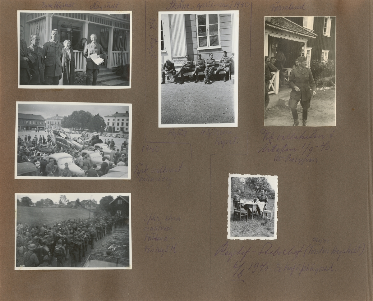 Gruppbild med soldater och civila.