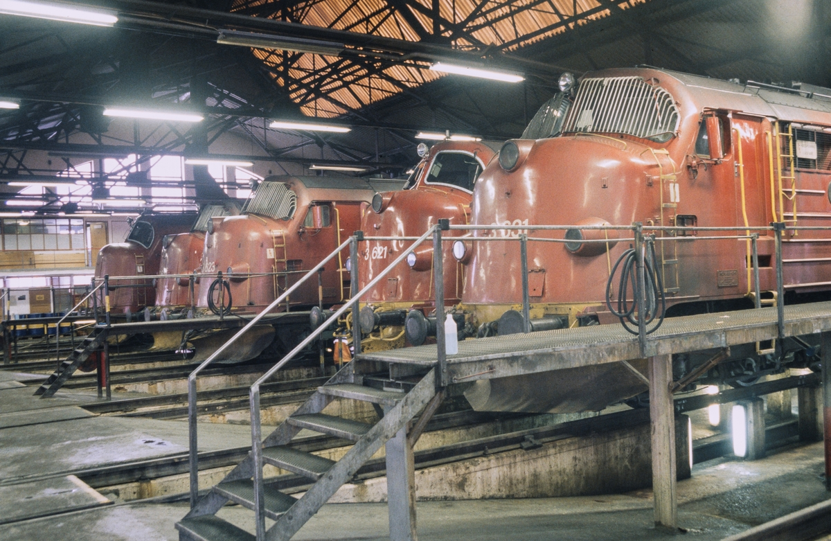 Fra lokomotivstallen på Marienborg i Trondheim. Seks diesellokomotiver type Di 3.