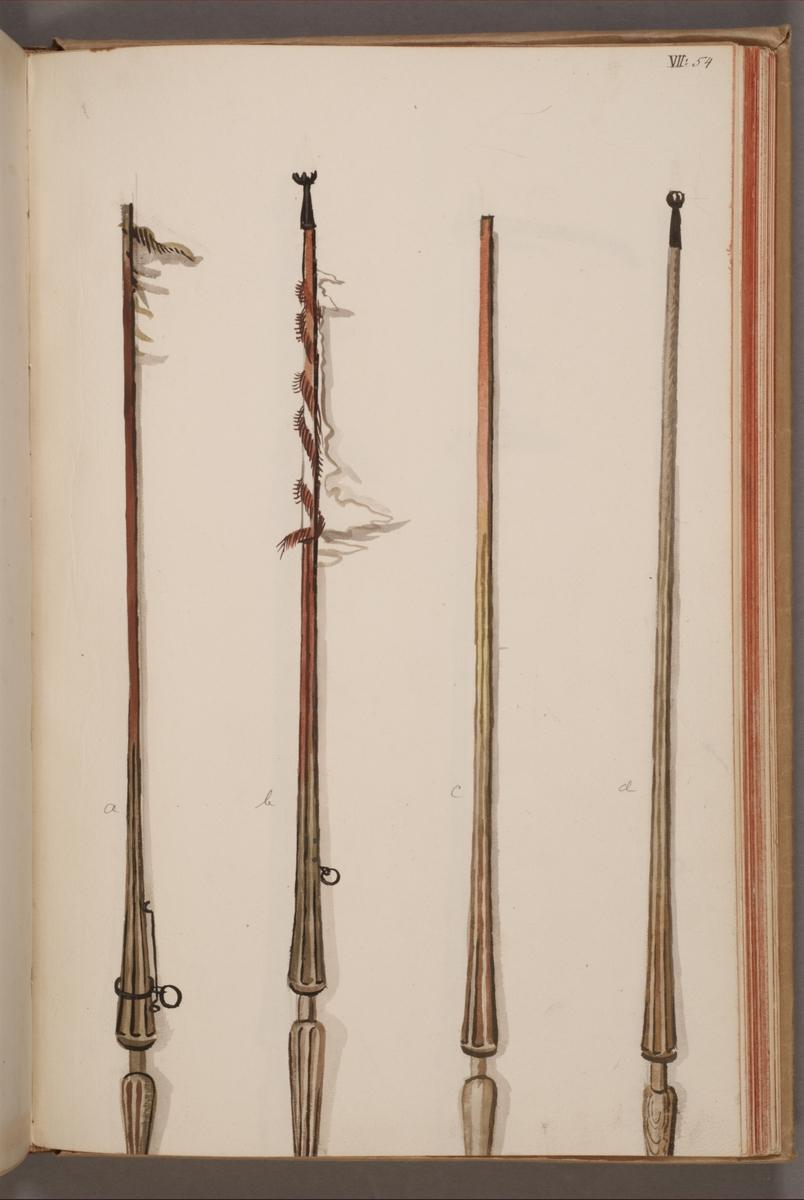 Avbildning i gouache föreställande standarstänger tagna som troféer av svenska armén. Stången längst till vänster i bild finns bevarad i Armémuseums samling, för mer information, se relaterade objekt.