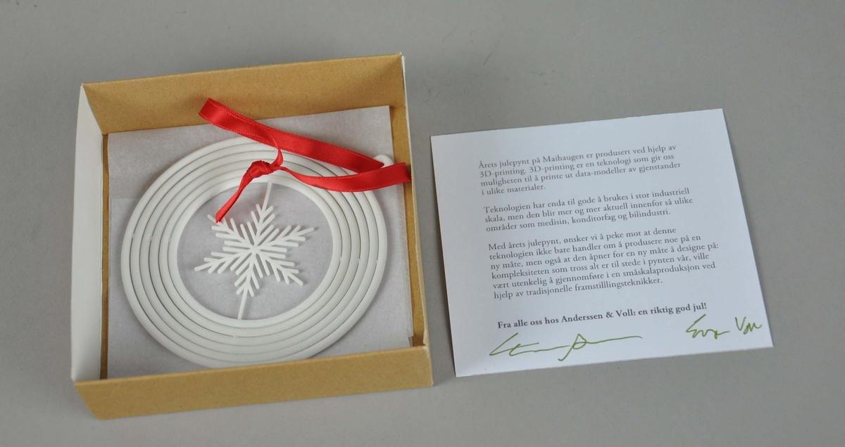 Julepynt av hvit plast, i brun eske. Består av seks konsentriske sirkler med snøkrystall på innsiden. Den ytterste sirkelen har en hempe hvor det er påfestet en rød tøytråd. Julepynten er 3D-printet.
