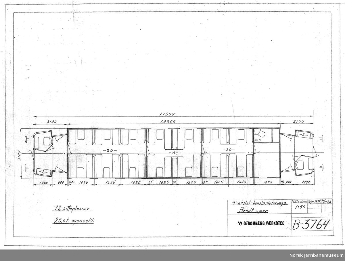 4-akslet bensinmotorvogn, bredt spor, utkast. To tegninger, B-3764 og B-3843.  Ikke realisert