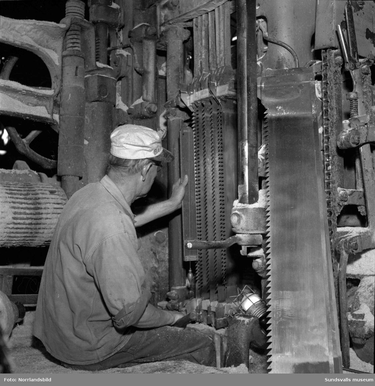 Bilder från verksamheten inne i Skönviks sågverk med maskiner och arbetare.