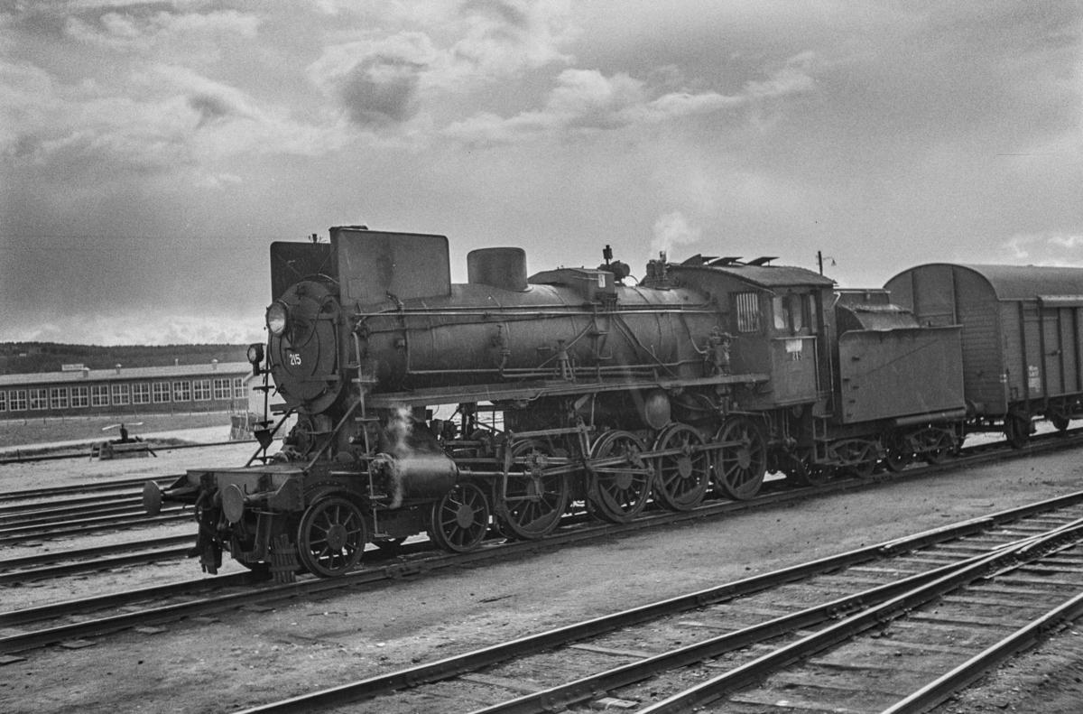 Damplokomotiv type 26a nr. 215 med sydgående godstog på Røros stasjon.