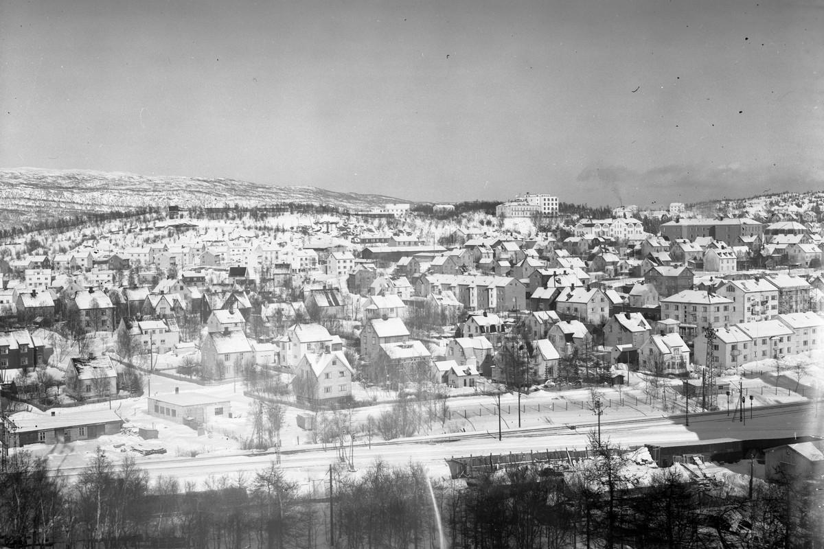 Frydenlund sett fra Royal. Vinter. Vinterbilde av bydelen Frydenlund i Narviksett fra Royal Hotell.