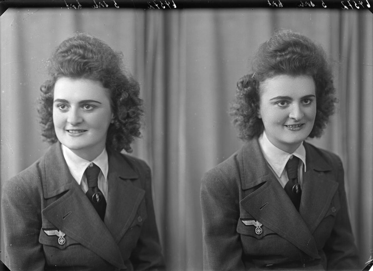 Portrett. Ung kvinne. Tysk. I tysk uniform med hakekors. Flyvåpenet. F.nr. 01146. Bestilt av Elisabeth Knoll.