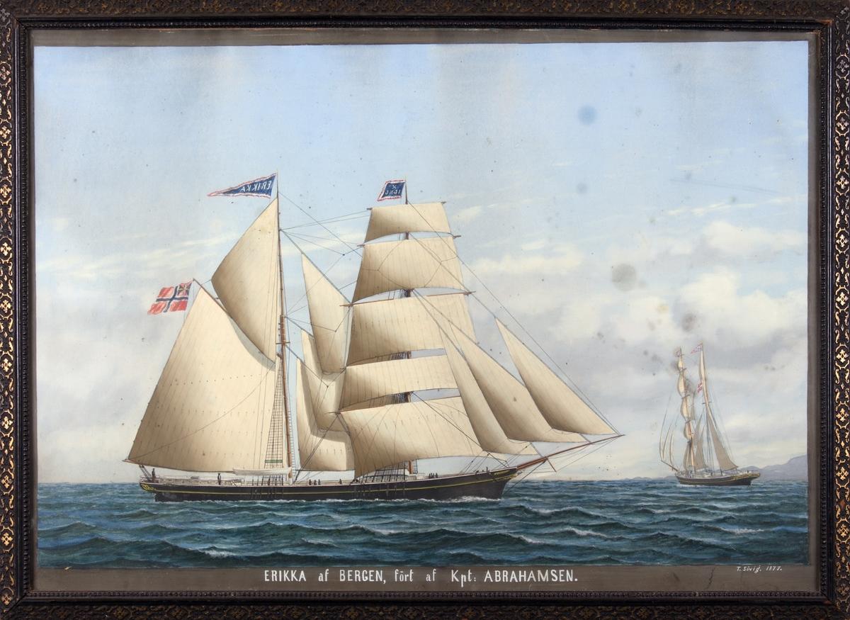 Skipsportrett av skonnert ERIKKA på åpent hav, skipet sees også fra akter til høyre i motivet. 10 mann på dekk. Skipet fører norsk flagg med unionsmerke, navnevimpel og fører kjenningssignal X IJNG.