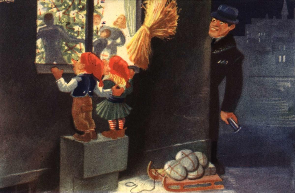 Julekort. Ubrukt. Eksteriørt. To smånisser står pg ser inn på juleferingen med gang rundt juletreet. De har med seg en   kjelke med gaver. En mann kikker på dem. Illustert av Knut Spange.