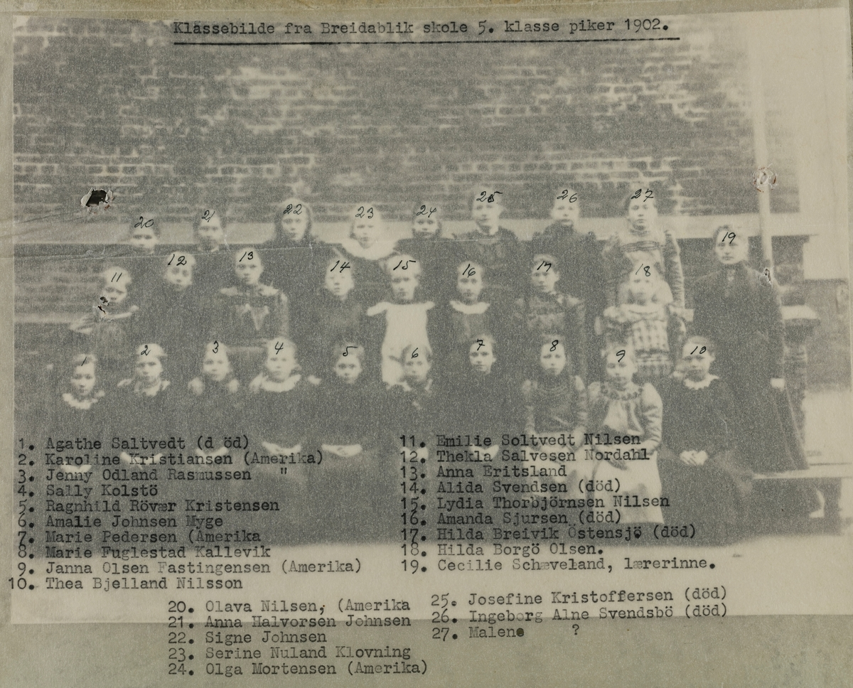 Klassebilde 5. klasse piker Breidablik skole 1902.