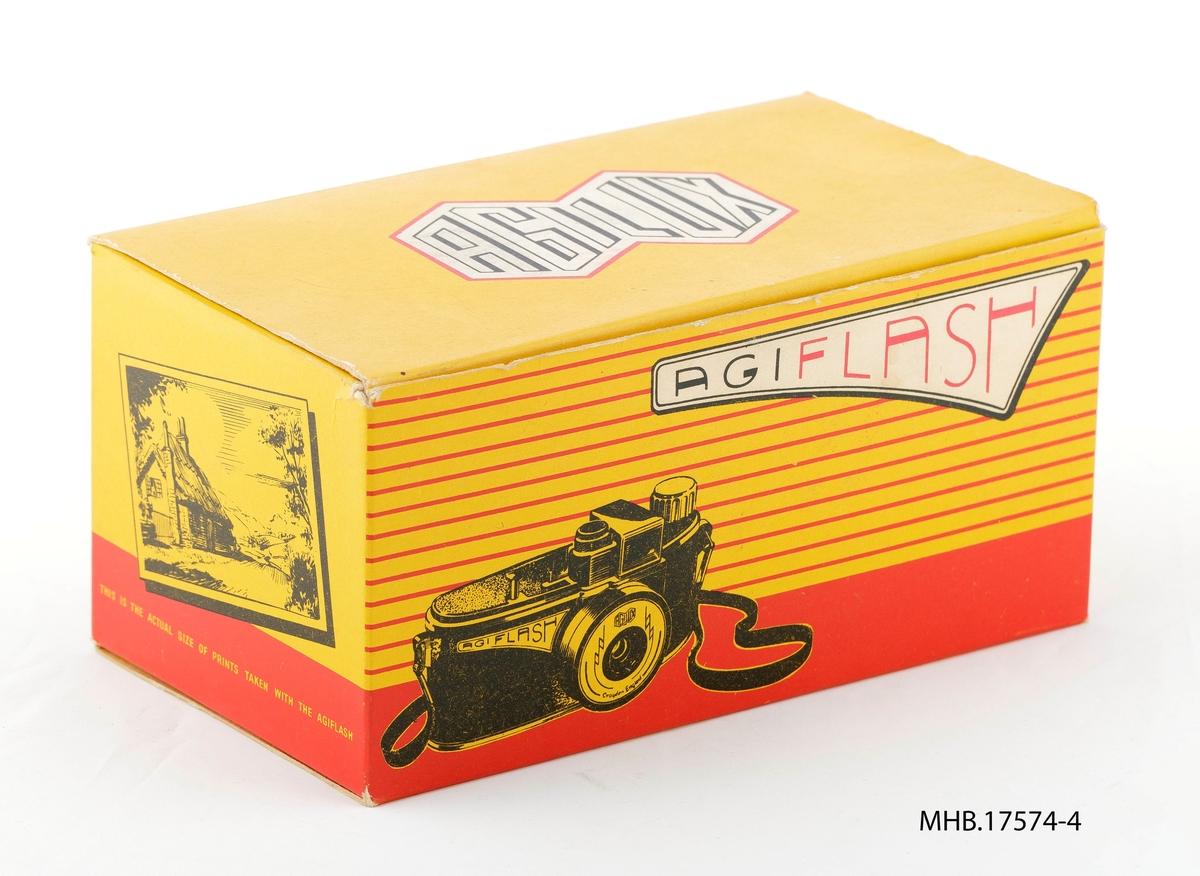 Emballasje til fotoapparat Agiflash m/eske og innebygget blitzholder. Agilux linse og filmrull 127 mm. Produksjonssted: UK