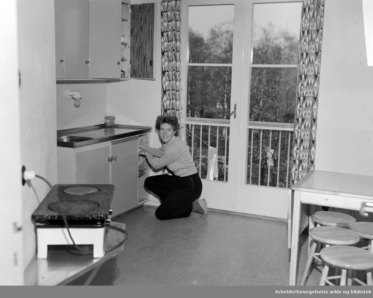 Sogn, Studentbyen. 2. byggetrinn. En av de nye hyblene. Oktober 1954