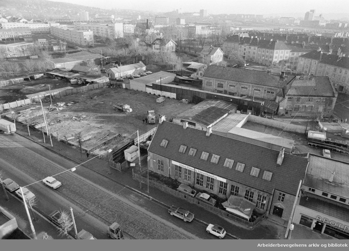 Sandaker. Saneringsområde mellom Toftesgate og Åsengata. Januar 1973