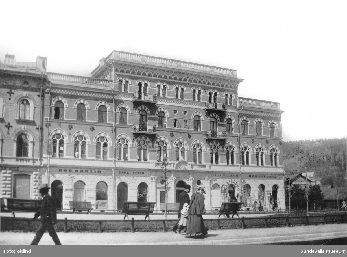 Esplanaden 2, Sundsvalls Folkbank på andra våningen, Robert Sahlins tryckeri, Carl Frisk,  Nasielskys konditori.