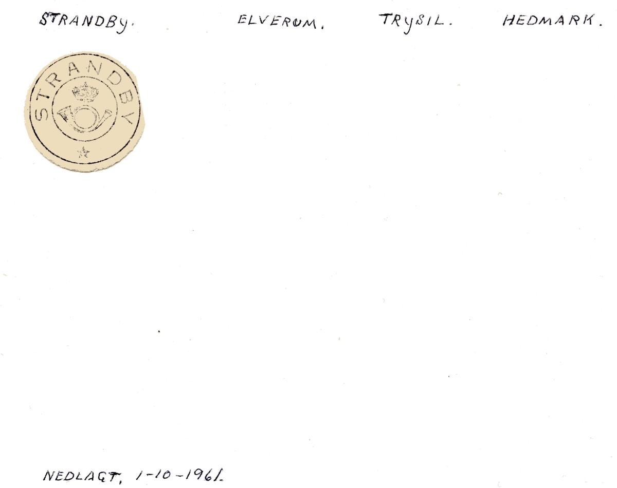 Stempelkatalog Strandby, Elverum, Trysil, Hedmark