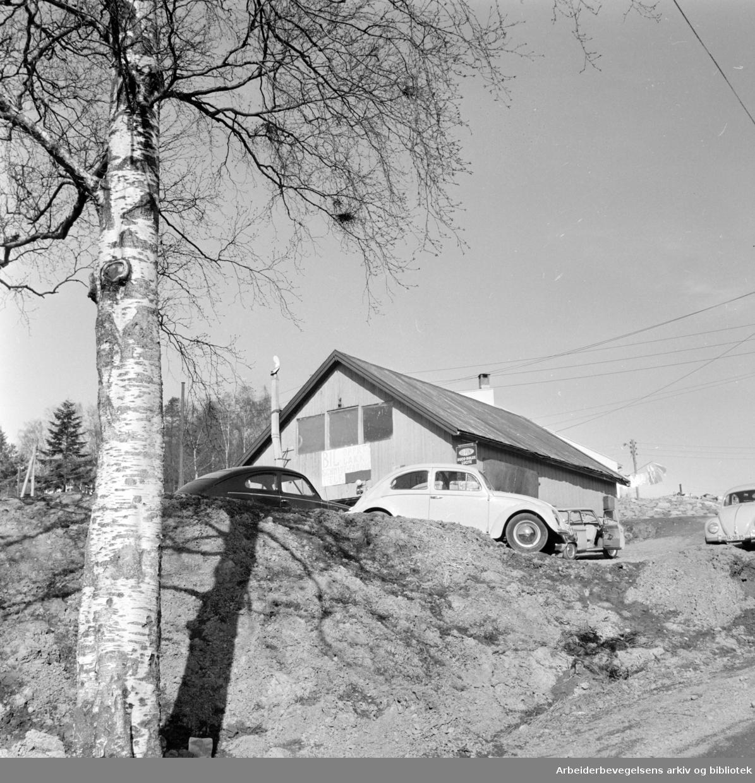 Rødtvet gård. Ulovlig billakkeringsverksted må stenges..April 1964.