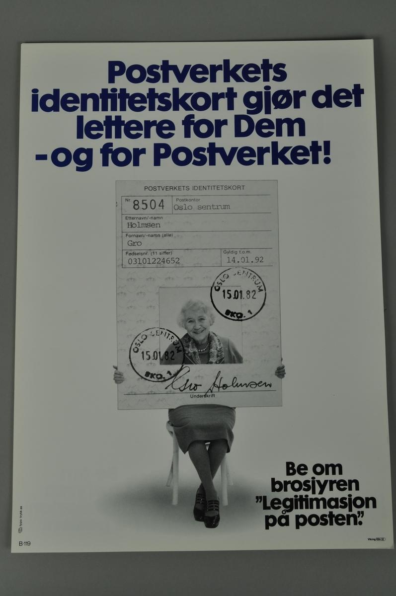 Informasjonsplakat om Postens identitetskort. Illustrasjon fra 1982. Bokmål og nynorsk.