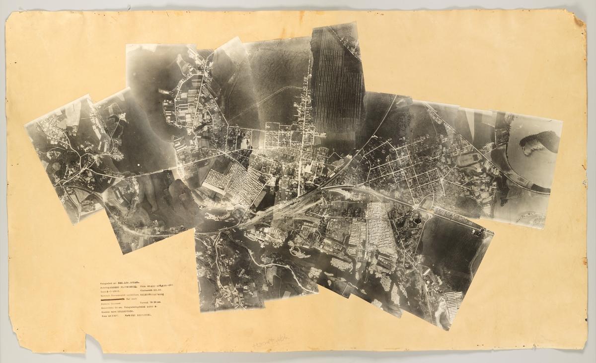 Flyfotomosaikk av Lillestrøm fra 1926. Bilder av sager langs Nitelva, plankestabler, jernbane, boliger i sentrum, uttak av torv til torvstrøfabrikken.