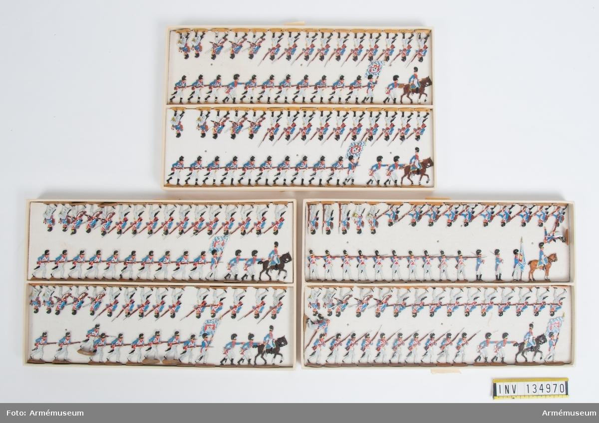 Infanteri från Bayern från Napoleonkrigen. Tre lådor med figurer. Fabriksmålade.