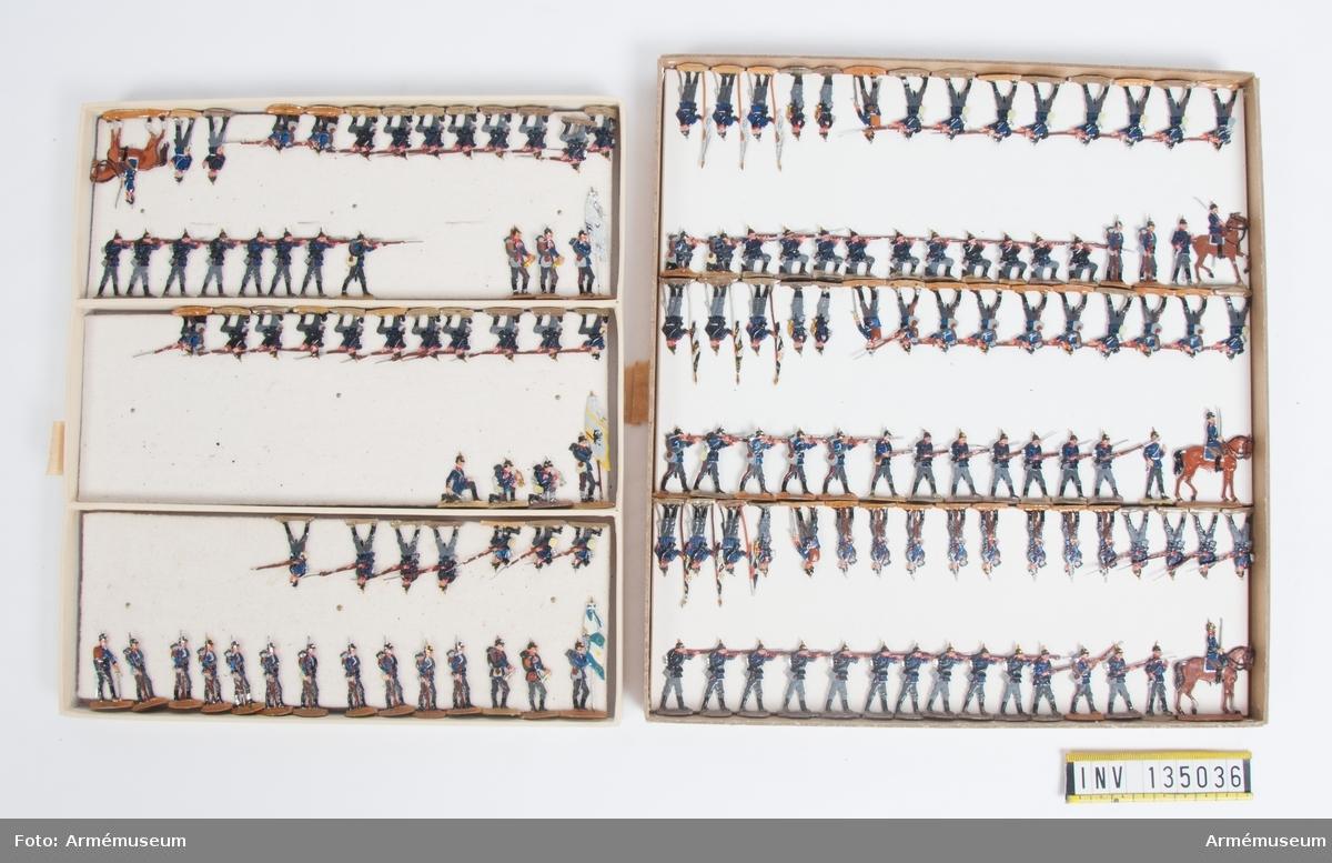 Infanteri från Tyskland från Fransk-tyska kriget. Två lådor med figurer. Fabriksmålade.