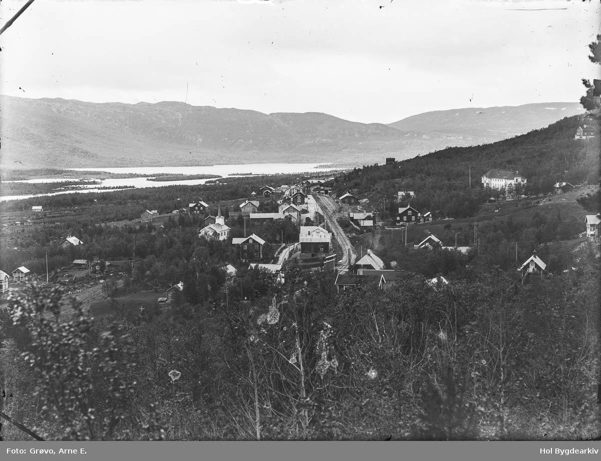 Landskap, Geilo sentrum, jernbanestasjon, Holms Hotell, kyrkje