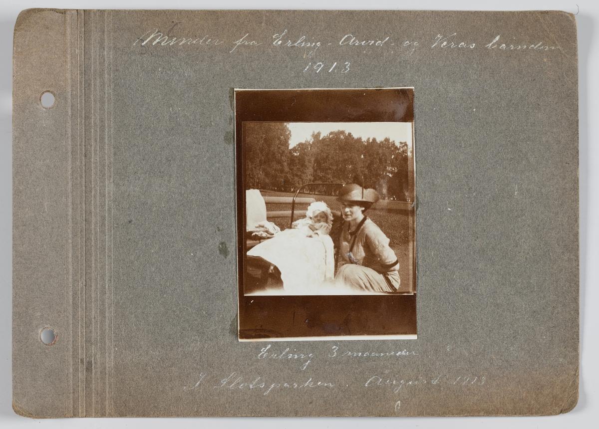 Erling og Amy Michelsen i Slottsparken, Oslo august 1913.