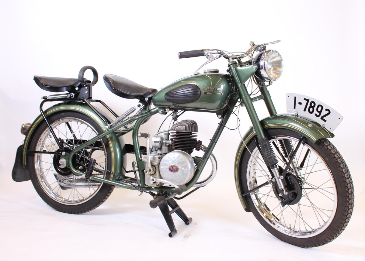 Motorsykkel, Tempo villiers, toseter, grøn.