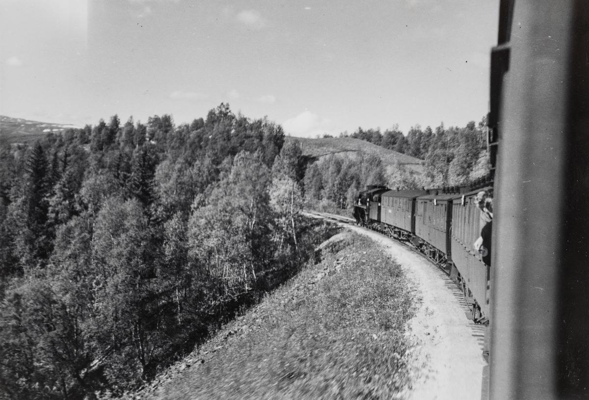 Nordgående dagtog på Rørosbanen ved Råen, mellom Rugldalen og Reitan.
