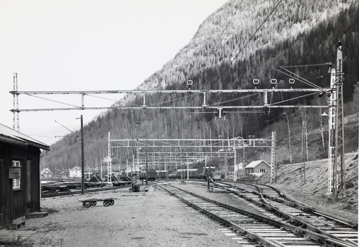Et av Rjukanbanens  diesellokomotiv type DH 500 Ca skifter på Mæl stasjon på Rjukanbanen.