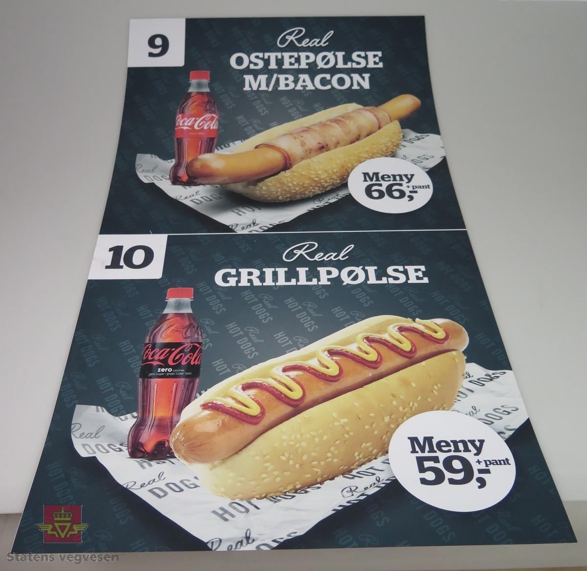 Sju ulike plakater av plast. De reklamerer for salg av pølser og hamburgere hos Statoil.