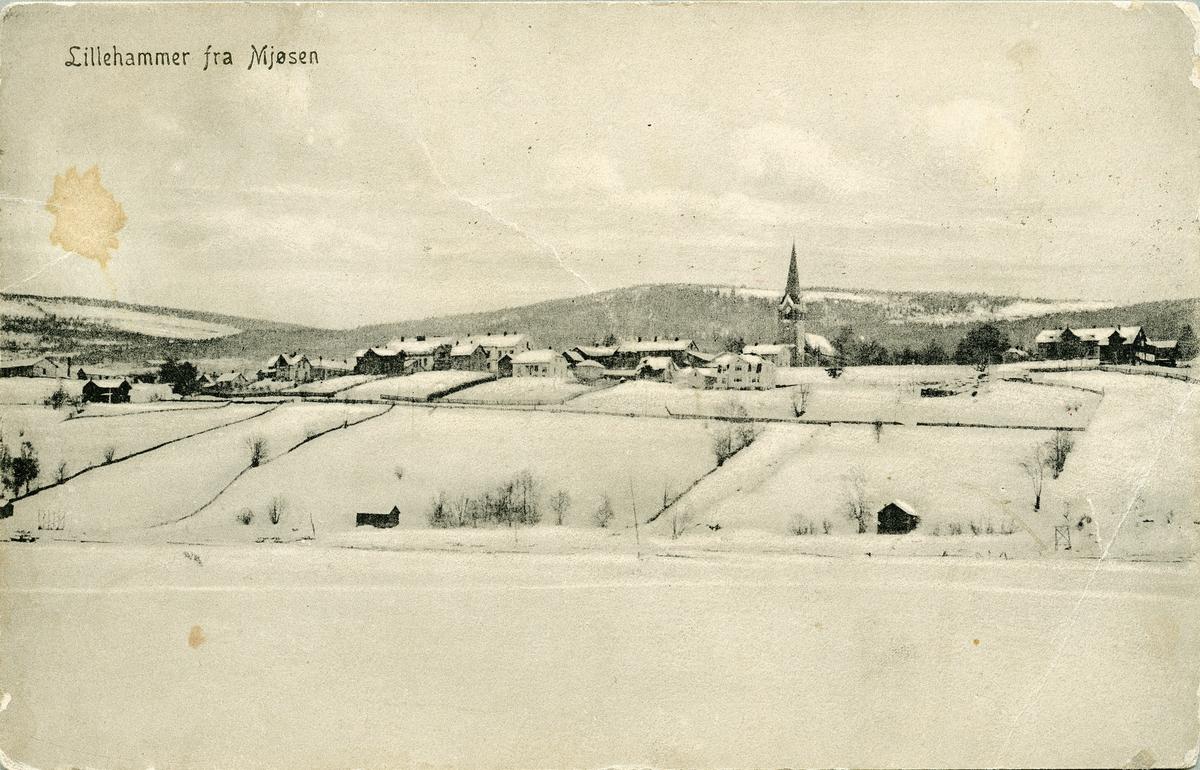 Repro: Utsikt over Lillehammer, sett fra Mjøsa, bebyggelse,  postkort