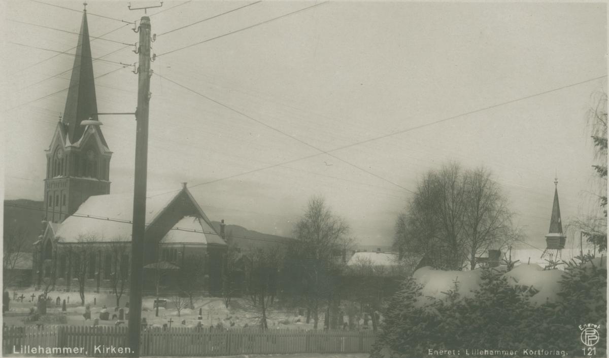 Repro: Utsikt over Lillehammer kirke, postkort.