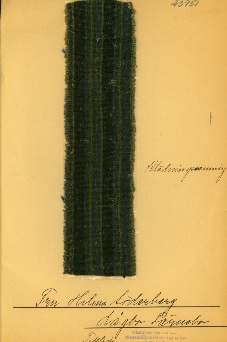 Anmärkningar: L; 64 B; 253 Vävprov av halvylle i tuskaft, randigt. Bomullsvarpen är i brunt. Inslaget av ull är randat i blått, svart, brunt och grönt. tidigare ägd av fr Hilma Söderberg, Lågbo Västerfärnebo. Insamlad och skänkt av Olga Anderzon, Västra Bergsgatan 8 Västerås.