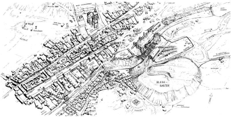 Bergstadens byplan på midten av 1800-tallet. Tegning av Sverre Ødegaard.