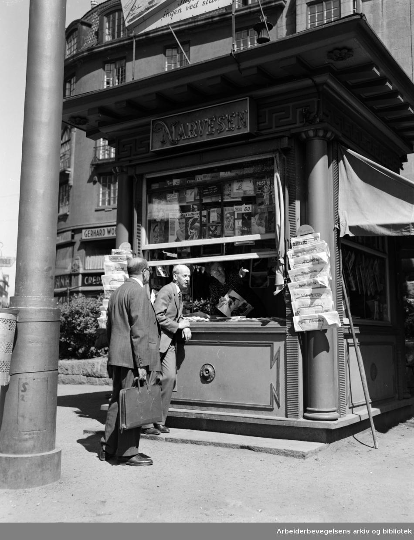 Narvesen Kiosk i Rådhusgata. Juni 1950