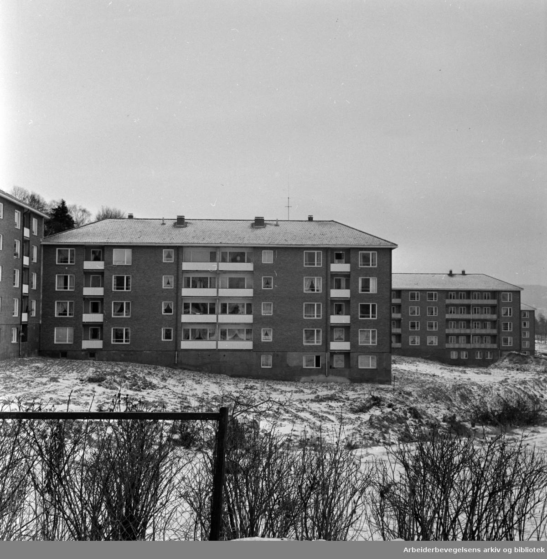 Lunden. Nye hus ved Lunden. Februar 1964