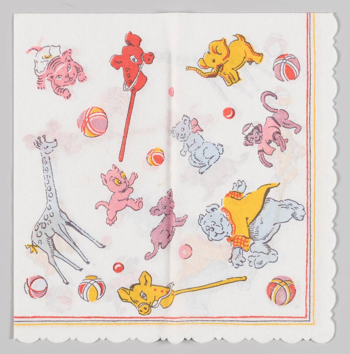 Kosedyr og leker: Giraff, elefant, ape, bjørn, tiger, katt, lekehester og baller. Rød, blå og gulstripete kant.