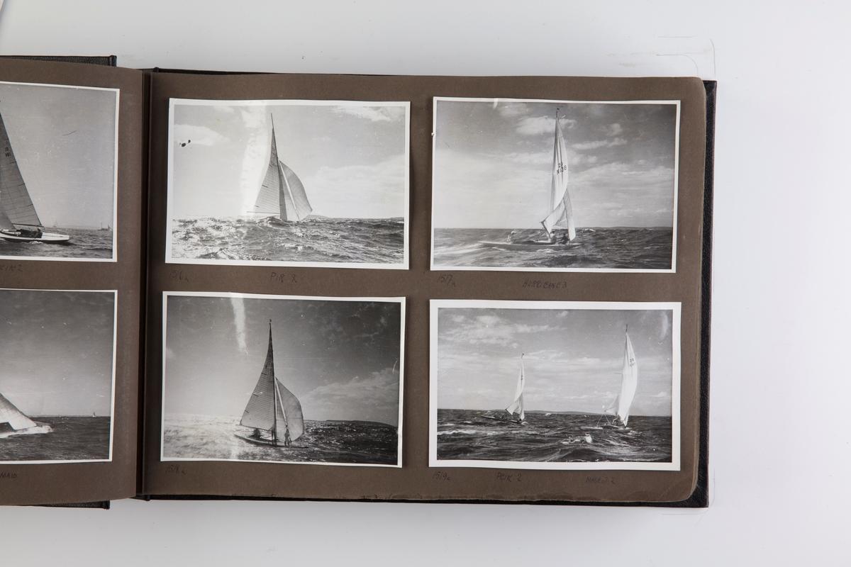 Album med fotografier av seilbåter fra regattaer i 1939-1947.
