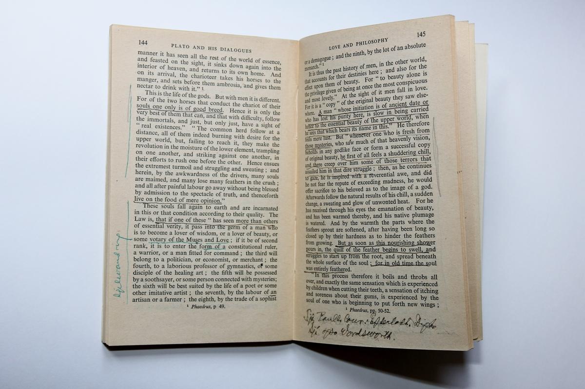 Boka er eit kommentarverk om Platon med lengre utdrag frå utvalde Platon-dialogar. Merknadane gjort av Hauge syner at han ser samanhengar mellom Platons tenking og diktinga til ei rekke lyrikarar. Merk at Hauge også har laga ei teikning av Platon si holemyte.