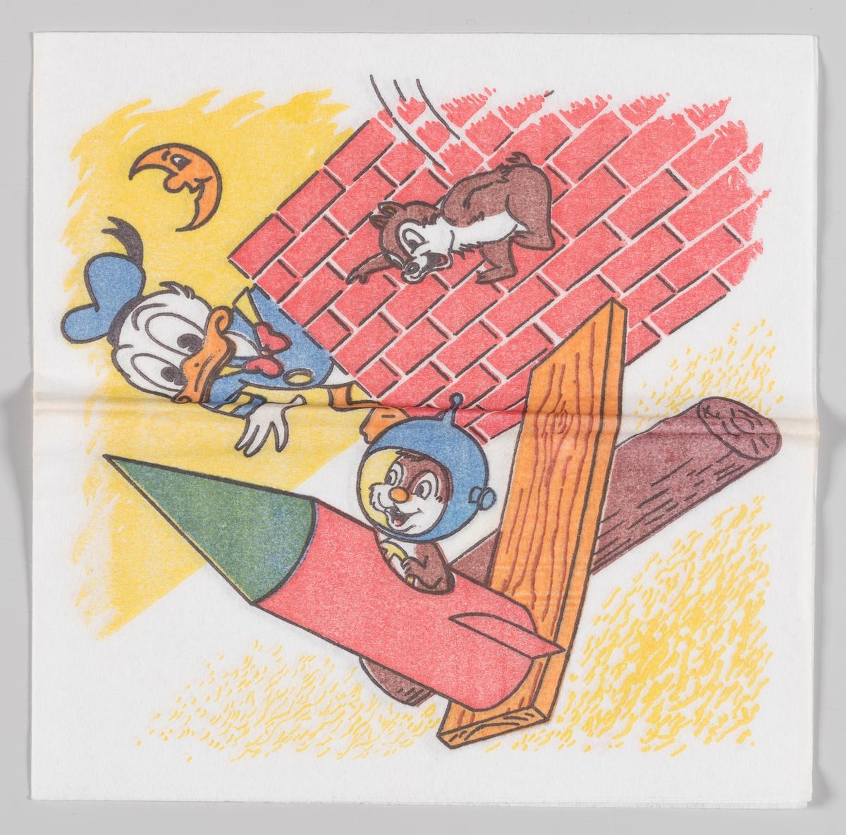 Donald Duck ser på Snipp og Snapp som prøver å få en rakett til å fly  Samme motiv som serviett MIA.00007-003-0157 og MIA.00007-003-0158